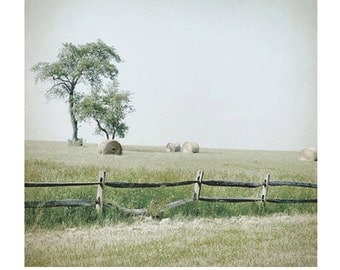 Landscape Art print, Farm Photo,  farm print, wooden fence, country scene, hay bales, field, farmhouse chic, pale, green, mint