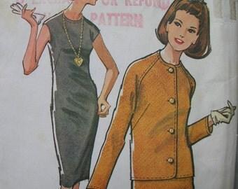 Fabulous Vintage 60's Misses' Pattern SLIM DRESS And JACKET Mostly Uncut
