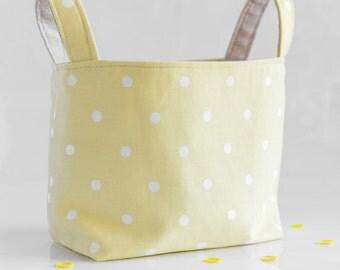 Ready to Ship Easter fabric basket  fabric organizer  fabric storage bin toy diaper holder cotton canvas basket   pale yellow bin polka dot