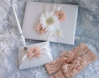 Blush Wedding Guest Book and Pen Set  White or Ivory with blush accent Guestbook