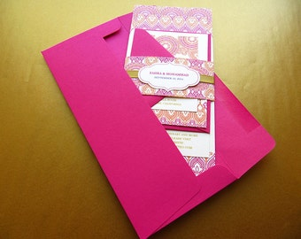 Indian Wedding Invitation. Henna Invitation. Hindu Wedding Invitation. Moroccan theme Wedding. Pink and Gold Invitation – SAMPLE