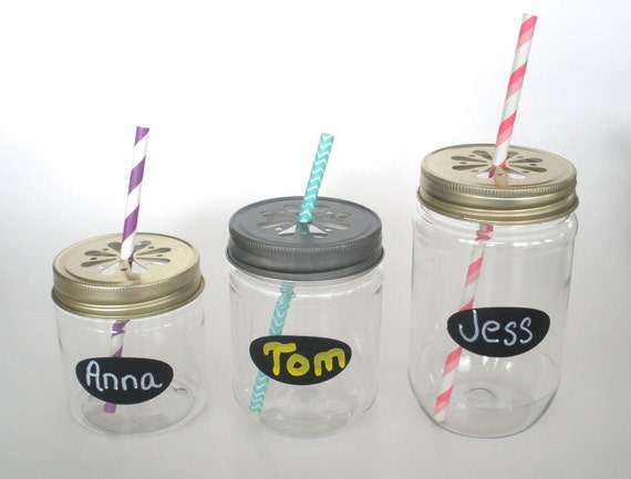 Reserved for Kristen….40 Plastic Jars, 12 oz and 40 Pewter Daisy Cut Jar Lids and 40 Shabby Pink & Gray Paper Straws Mix