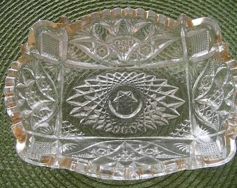 SALE-REDUCED PRICE Item, Glass Relish Dish, Rectangular Glass Dish, Glass Serving Dish, Antique Dish Vintage Serving Dish
