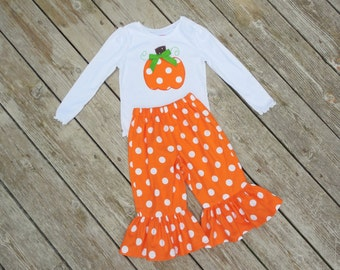 Girl's Orange and White Polka Dot Personalized Pumpkin Applique Shirt with Ruffle Pants Outfit