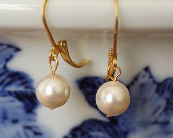 Set of 7 bridesmaids earring, Ivory pearl earrings, 7 sets single pearl earring, Gold pearl drop earrings, Silver pearl drop earrings