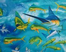 Swordfish Tuna Variety Tropical Fish Cotton Fabric Fat Quarter or Custom Listing
