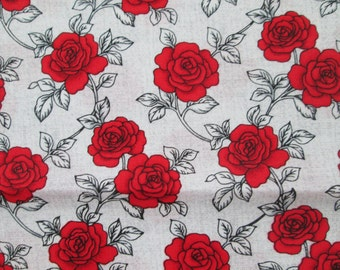 Red Roses Gray Cotton Fabric Fat Quarter or Custom Listing