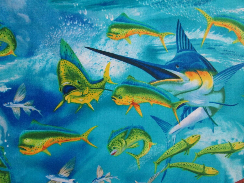 Espadon thon divers poissons tropicaux coton tissu fat quarter for Poisson tropicaux