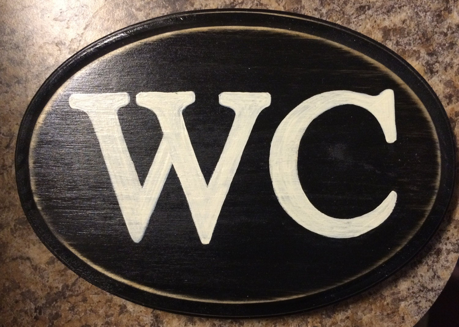 Wc Water Closet Oval Plaque Wooden Sign English Restroom