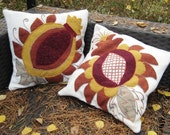 WOOL PILLOWCASE Boiled Wool Application Embroidered Pomegranate Hand made