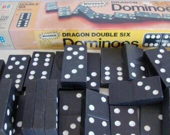 Vintage Wooden Dominoes * Wood Dominoes * Dominoes by Dragon * Dominoes