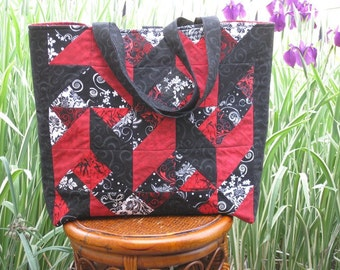 Red & Black Quilted Tote Bag
