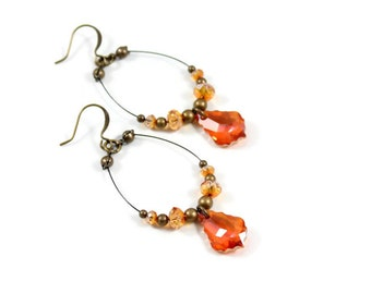 Crystal Hoop Earrings - Amber Dangle Earrings - Beaded Jewelry - Light Weight Handmade Earrings - Astral Pink Jewelry