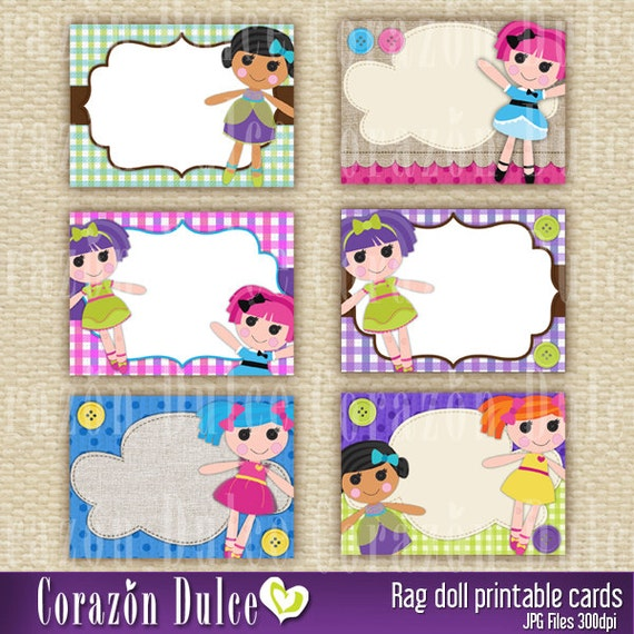 Rag doll Printable Cards/tags, book labels, stickers, kids cards, gift ...