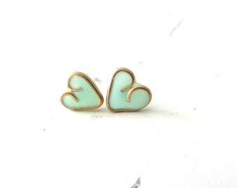 Heart stud earrings , Mint Turquoise studs , Heart jewelry , Valentine's Day gift