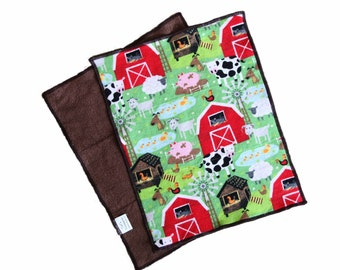 Farm Flannel and Terrycloth Burp Rags, Ready to Ship