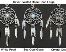Dream Catcher Pearl, Sea Opal, Crystal Quartz & Silver Dreamcatcher Necklace with Feathers Large