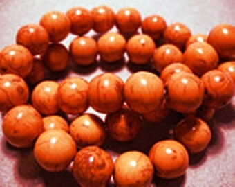 Magnesite Beads Gemstone Orange Round 10MM