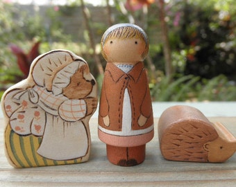 Wood Toy Set-BEATRIX POTTER -LUCIE-Mrs. TiggyWinkle-Hedgehog-Waldorf Inspired