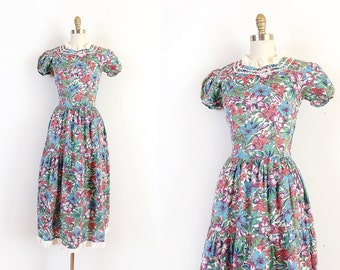 vintage 1930s dress // 30s tropical floral cotton dress