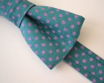 Boys Bowtie Ages 2-10 in Teal With Purple Dots