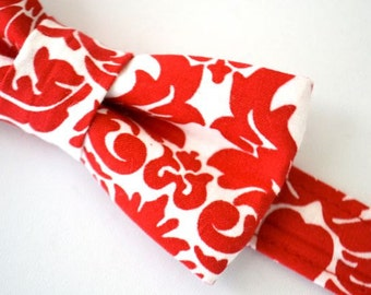 Bowtie Red Damask Adjustable- Ages 2-10