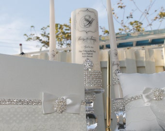 Ivory Diamonds, lace and Pearls.....Unity candle set, holders, guest book, pen ring and pillow