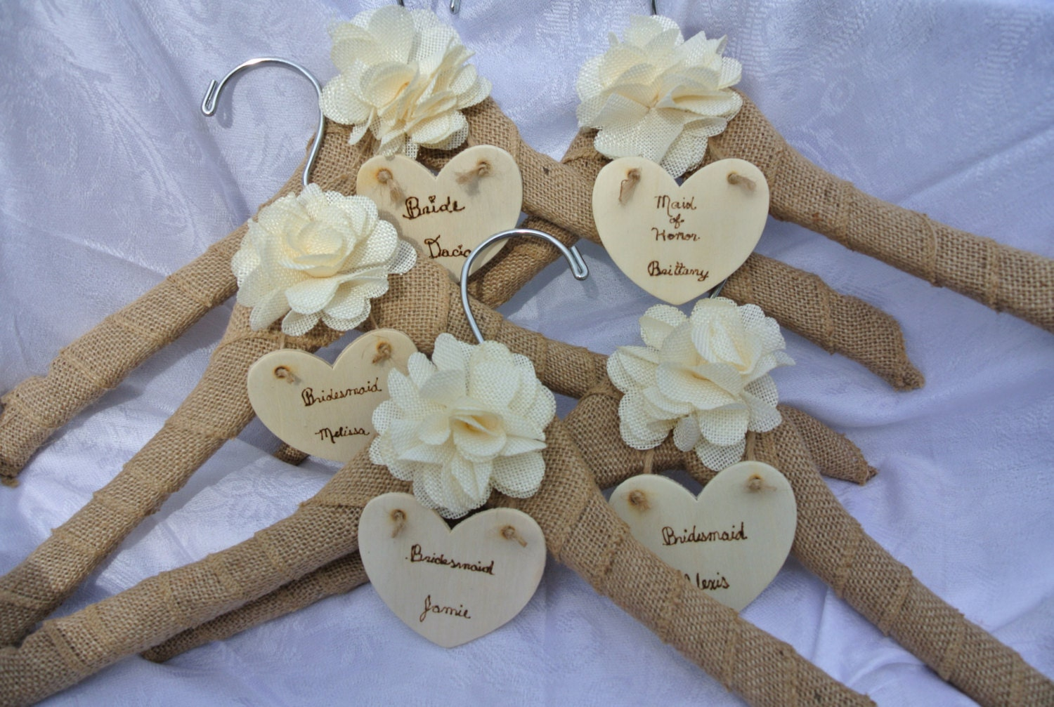 Name wedding dress hanger bridesmaids gifts rustic by jcbees for Wedding dress hanger amazon