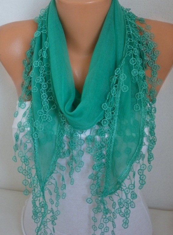 ON SALE - Mint Green Scarf  Spring Summer Scarf Cotton Scarf  Woman Cowl Scarf Gift For Her Women's Fashion Accessories