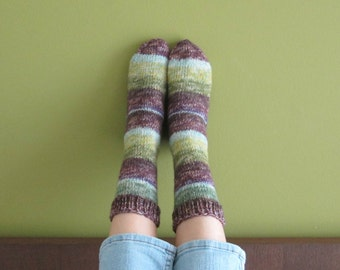 Thick socks knitted (Women's Size US 6 - 7.5, UK 3.5 - 5, Europe 36 - 38) small size 8ply thick
