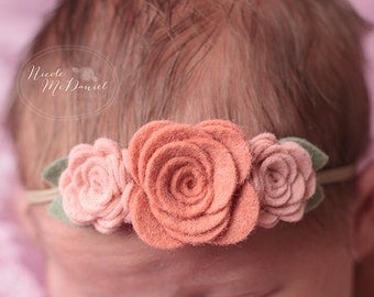 Vintage Pinks Wool Felt Flower Headband - Trio of  Roses  - Newborn Baby to Adult