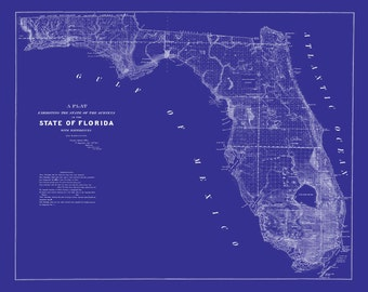 1853 Map Of Florida Vintage Blueprint Map Print Poster