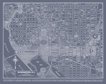 Washington DC Street Map Vintage Gray Map Print Poster