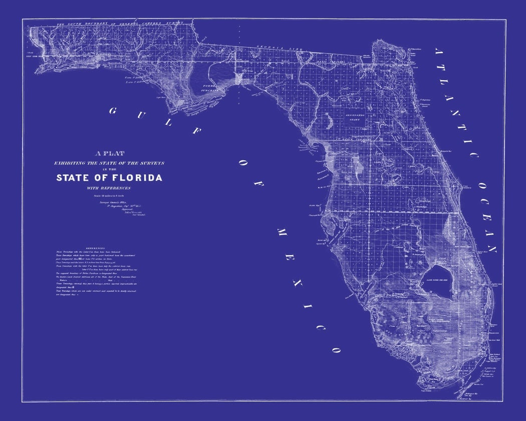 1853 map of florida vintage blueprint map print poster