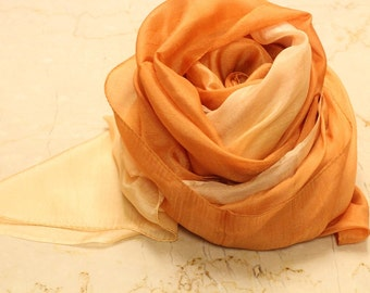 Pure Silk- pareo- sarong- wrap- extra large- sl- cotton candy pink- light pink- rose pink-  Mustard- yellow- Ombre- Dip Dyed