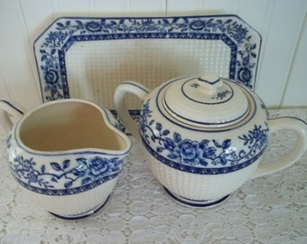Charming Blue and White Vintage Creamer and Sugar Set With Matching Tray