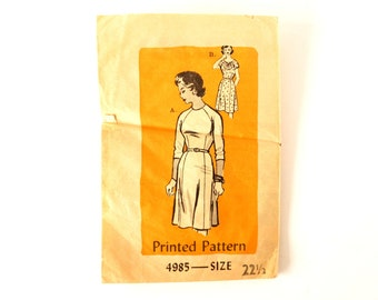 Vintage Ladies' Dress by Anne Adams Pattern 4985, Complete (Size 22-1/2) (c.1950s) - Collectible, Plus Size Sewing Supply