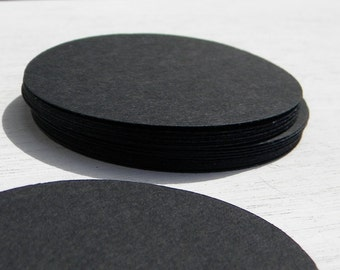 """100 2"""" circles in black cardstock - wedding  favor tags -  paper tags - paper garlands - cupcake toppers"""