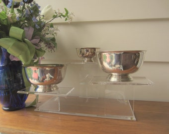 Set of 3 Paul Revere style silver serving bowls.  Silver wedding reception serving decor.