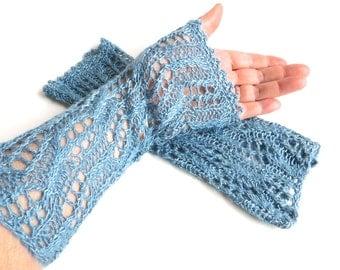 "Long elegant silk lace mittens ""Céleste"", pure Tussah silk, wild silk, plant dyed, knitted, crocheted, pastel blue, indigo blue, azure"