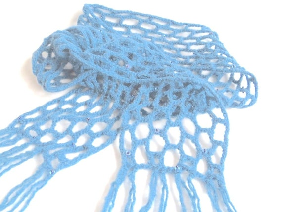 """Felt shawlette/scarf """"Segovia"""", pure new wool, sequins, waxed beads, crocheted, embroidered, dove blue, gray /grey blue, OOAK, one of a kind"""