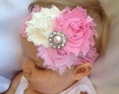 Pink Flower Headband - newborn phot shoot prop- newborn, infant or toddler sizes
