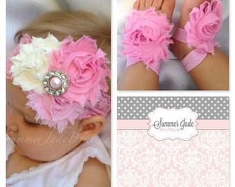 Flower baby headband & barefoot sandal set - rosette headband