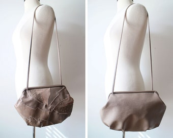 Vintage Boho Mod Bagland Taupe Patched Clam Purse Medium Size