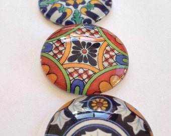 "Large Glass Fridge Magnets 1.25"" talavera designs set of 6 large glass cabochons)"