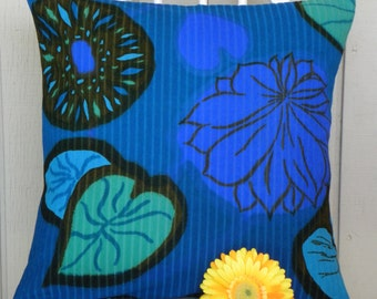 Pillow Cover - Vintage Blue and Green Watercolor Lily Pads - 18 x 18