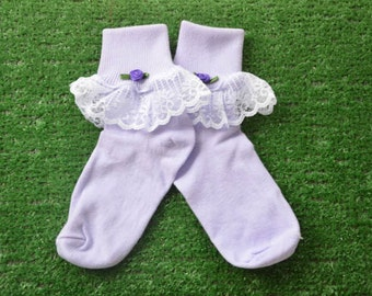 Lavendar -  Lace Socks with Rose for Little Girls - Size 7-8 1/2 (S) - US Shoe Size 9-1