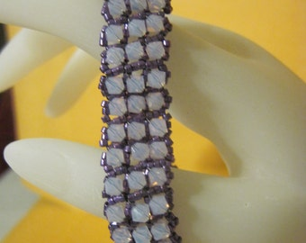 Lavender Opal Splash Swarvoski Beaded Bracelet  ..Hand Made... OOAK...1481h