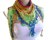 Crochet Multi Color Bamboo Lace Scarf ,Holiday Accessories, winter trends, fashion, 2014 gift , Turkish style,Christmas