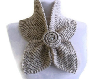 oatmeal neckwarmer, unique scarf, knitting scarf, Holiday gift , women Accessories, valentines day